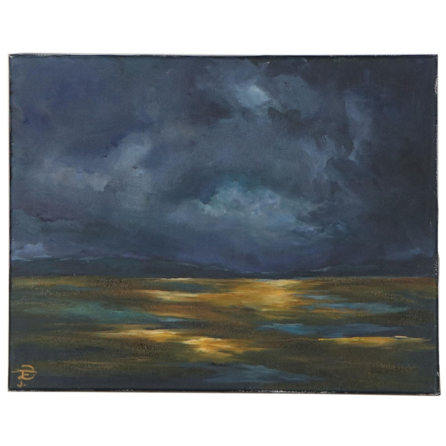 Daniela Fernandez Oil Painting of Ocean View at Night, 21st Century