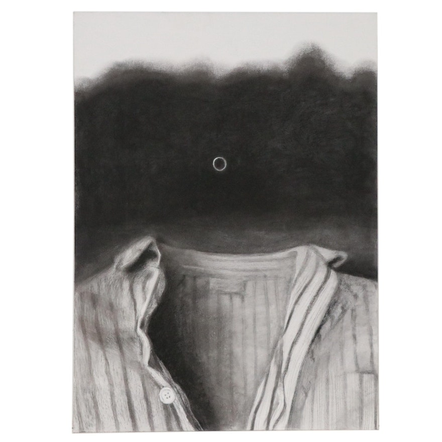 """Jenny Ustick Large-Scale Charcoal Drawing """"The Clothes Have No Emperor"""""""