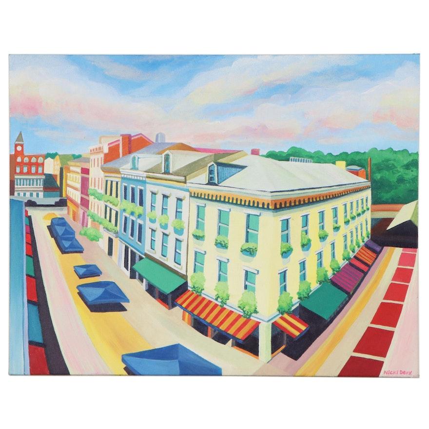 Nicki Deux Cityscape Oil Painting of Downtown Cincinnati, 21st Century