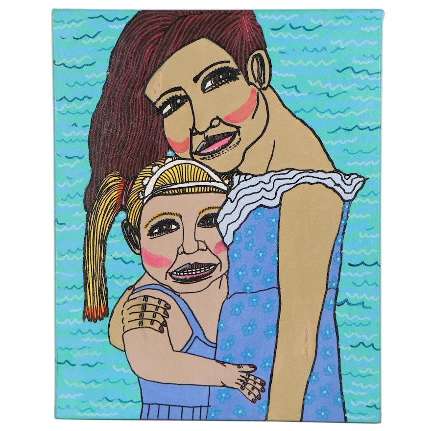 "Antonio Adams Acrylic Painting ""The Portrait of 2 Girl's,"" 2017"