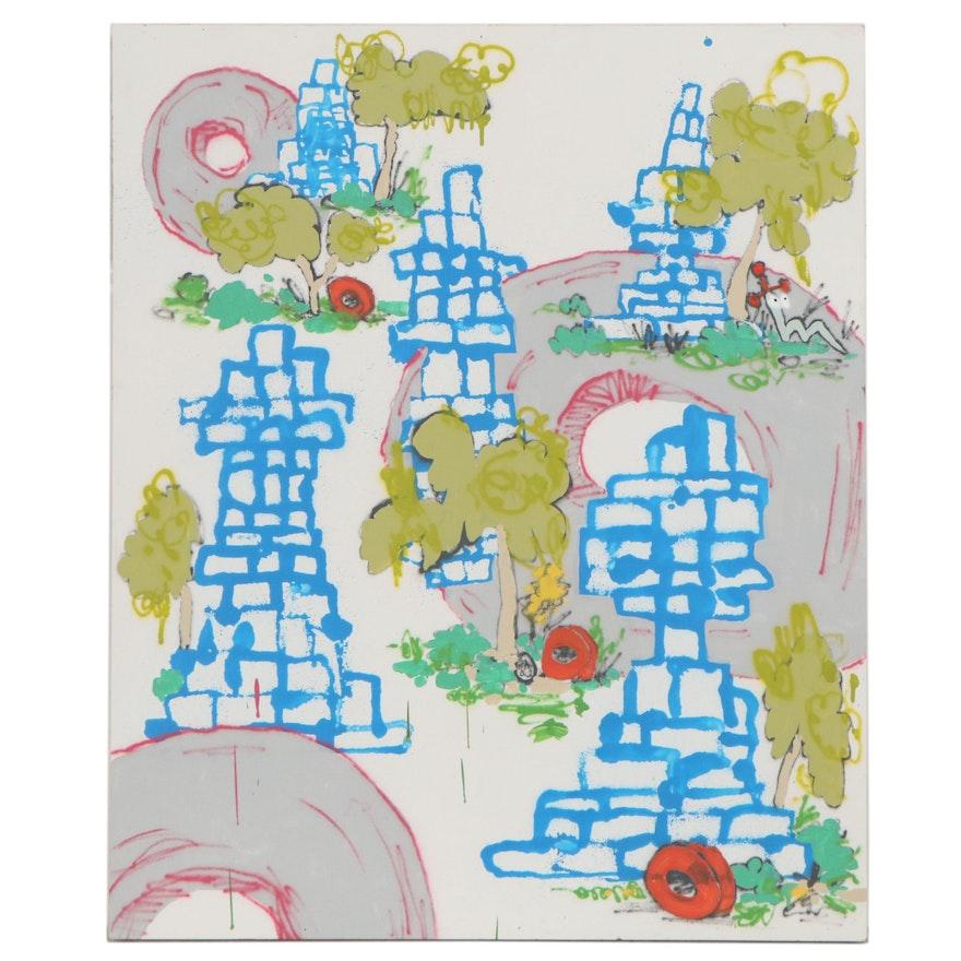 "Drew Christman Mixed Media Painting ""Ruins,"" 2021"