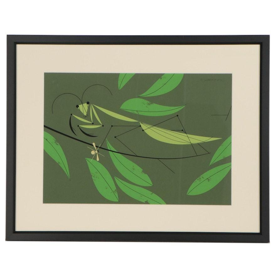 "Serigraph After Charley Harper ""Praying Mantis,"" Late 20th Century"