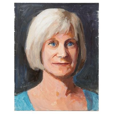 "Stephen Hankin Portrait Acrylic Painting ""Suzie - Blue Eyes,"" 2019"