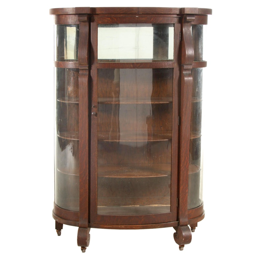 Empire Revival Oak China Cabinet, Late 19th or Early 20th Century