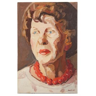 "Stephen Hankin Portrait Oil Painting ""Ruth,"" 1983"