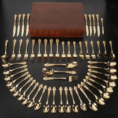 Stanley Roberts Gold Plated Stainless Steel Flatware in Wooden Case