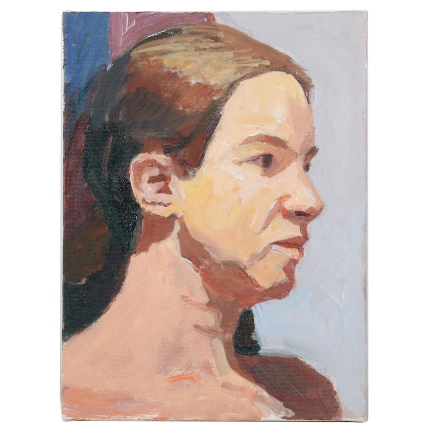 "Stephen Hankin Portrait Acrylic Painting ""Sonya,"" Circa 2017"