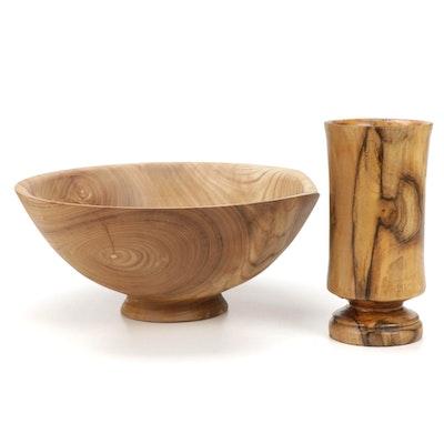 Jim Eliopulos Turned Catalpa Wood Footed Bowl and Vase