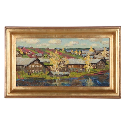 "Dimitry Motov Landscape Oil Painting ""Late Autumn,"" 2005"