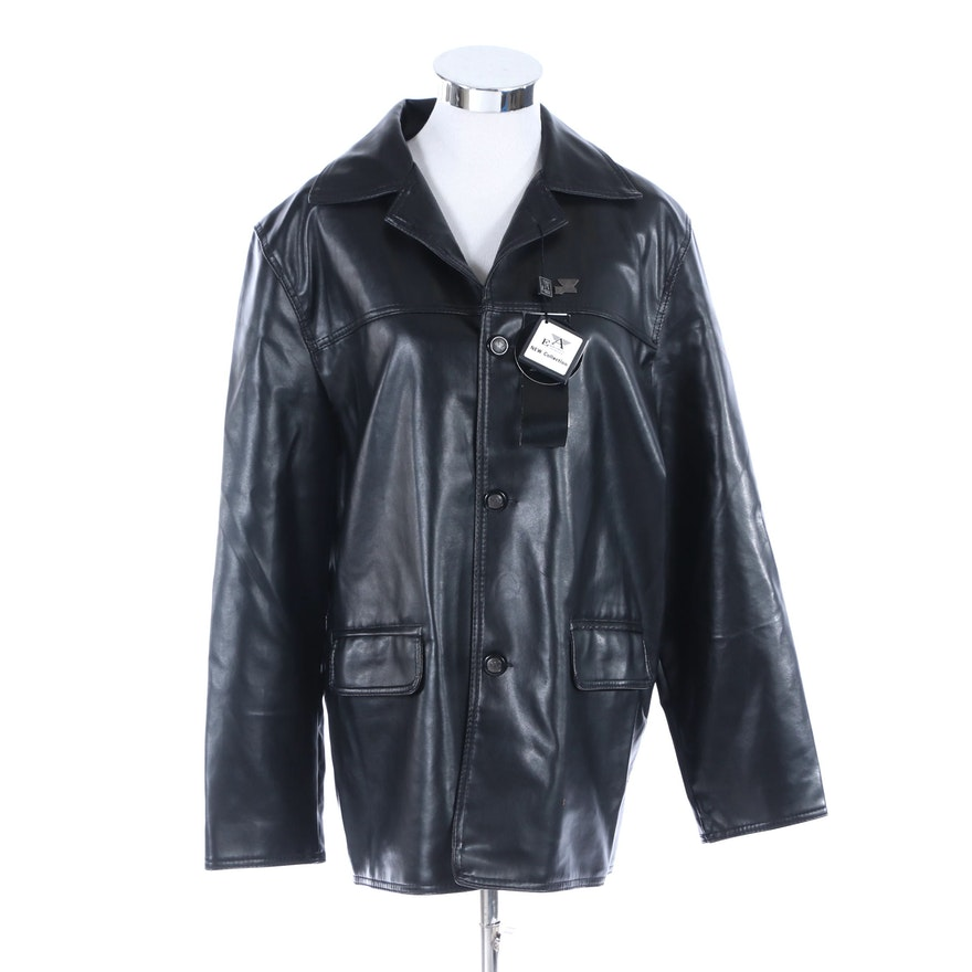 A Emporio Collezione Coat in Black Faux Leather