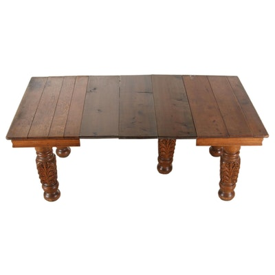 American Carved and Quartersawn Oak Extending Dining Table, circa 1900
