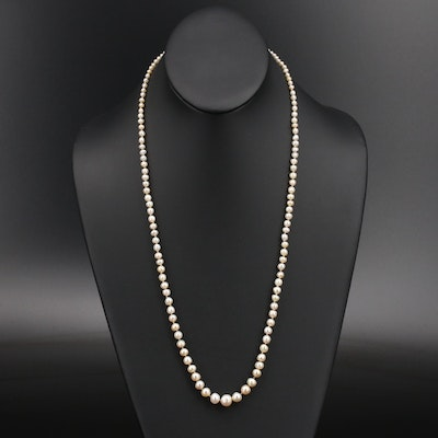 Vintage Graduated Natural Pearl Necklace with GIA Report and 18K Diamond Clasp