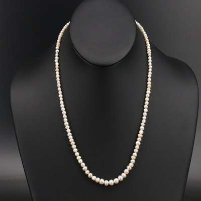 Natural Pearl Necklace with GIA Report and Gold Filled Glass Clasp