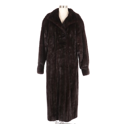 Mink Fur Full-Length Coat with Cuffed Sleeves