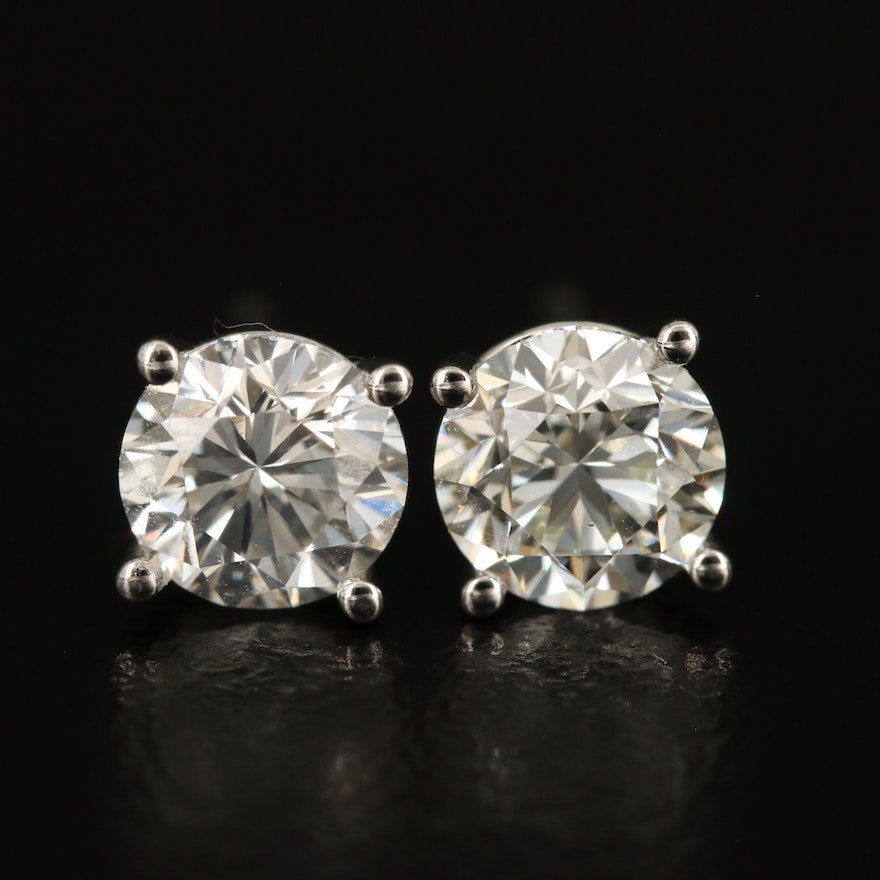 Platinum 1.77 CTW Diamond Earrings with GIA Reports