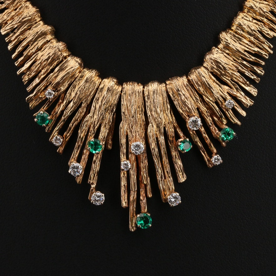 Circa 1970 14K Diamond and Emerald Necklace