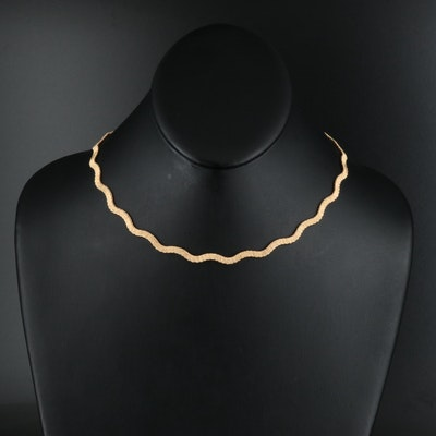 14K Italian Gold Wire Wrapped Wave Necklace