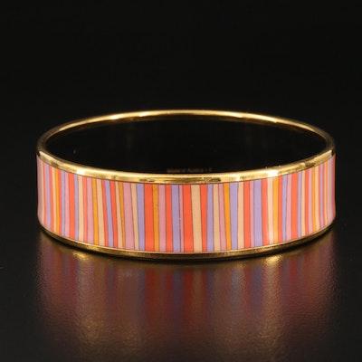 "Vintage Hermès ""Carioca Stripes"" Wide Enamel Bangle"