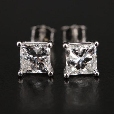 Platinum 2.11 CTW Diamond Stud Earrings with GIA eReports