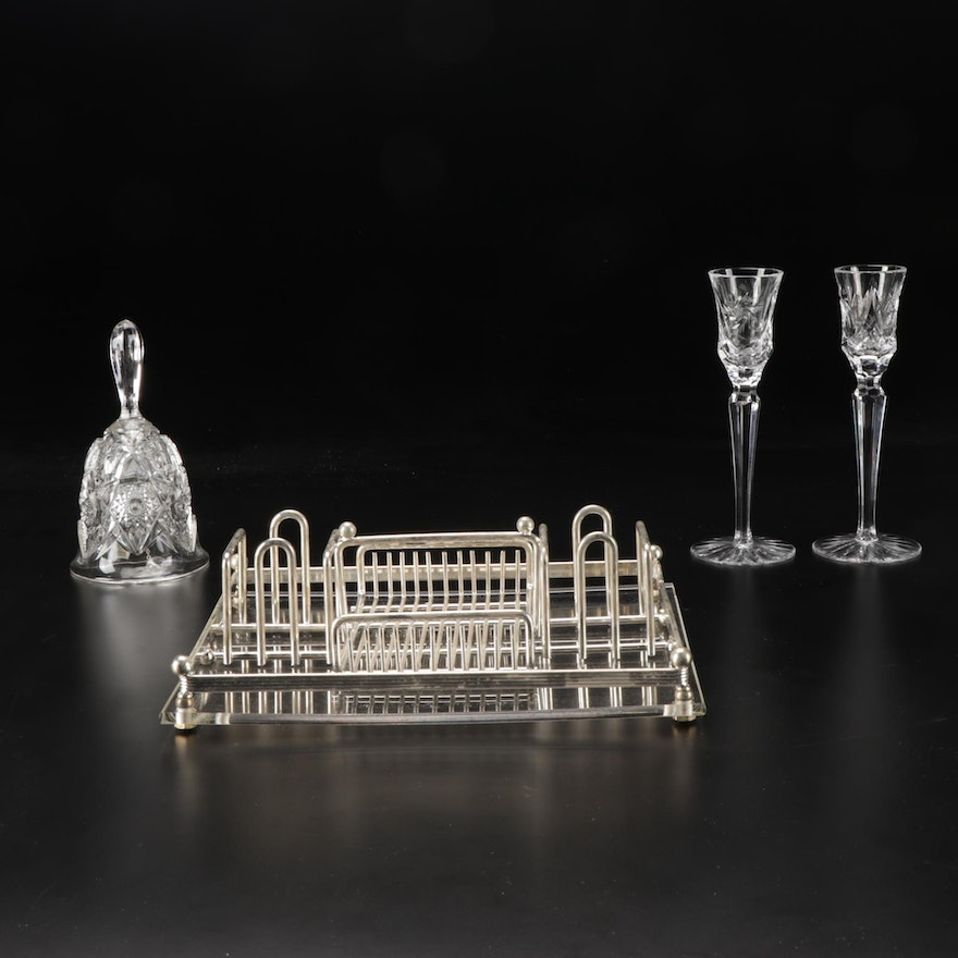 Imperial Bell, Silver Plated Condiment Tray, and Crystal Candlesticks