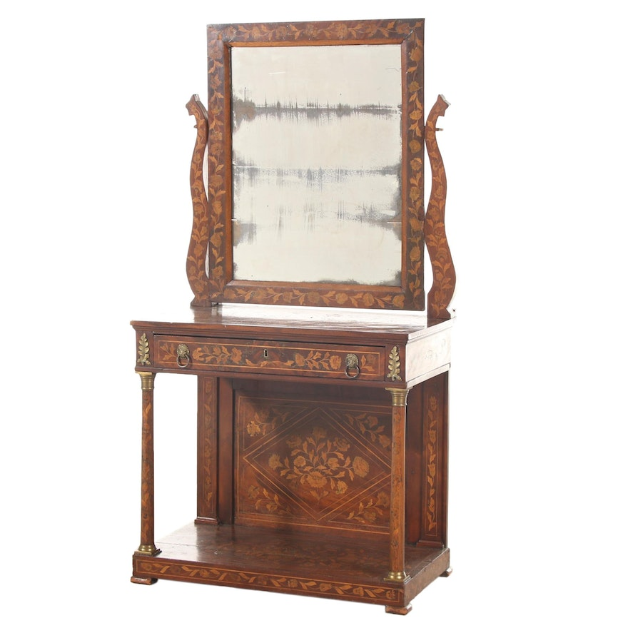 Dutch Marquetry and Walnut Dressing Table, 19th Century