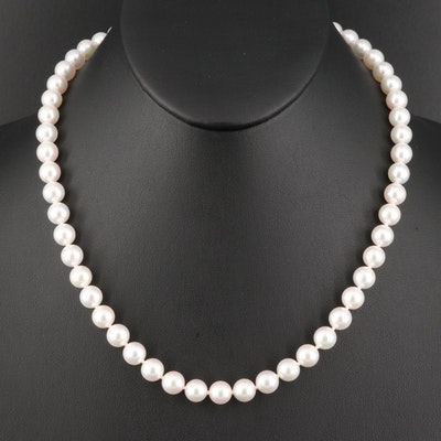 Blue Lagoon for Mikimoto Pearl Necklace with 14K Clasp