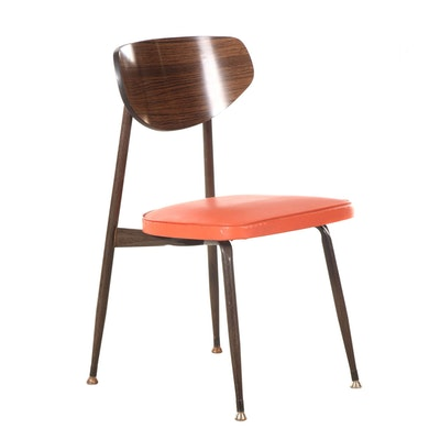 Viko - Baumritter Furniture Mid Century Faux Bois Laminate and Metal Side Chair