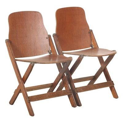 Pair of Military Style Wooden Folding Chairs, 1940s
