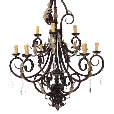 Spanish Baroque Style Nine-Light Chandelier with Crystal Drops
