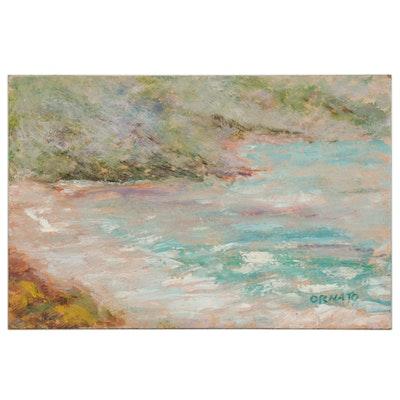 "Vince Ornato Oil Painting ""St. Thomas Beach,"" 21st Century"