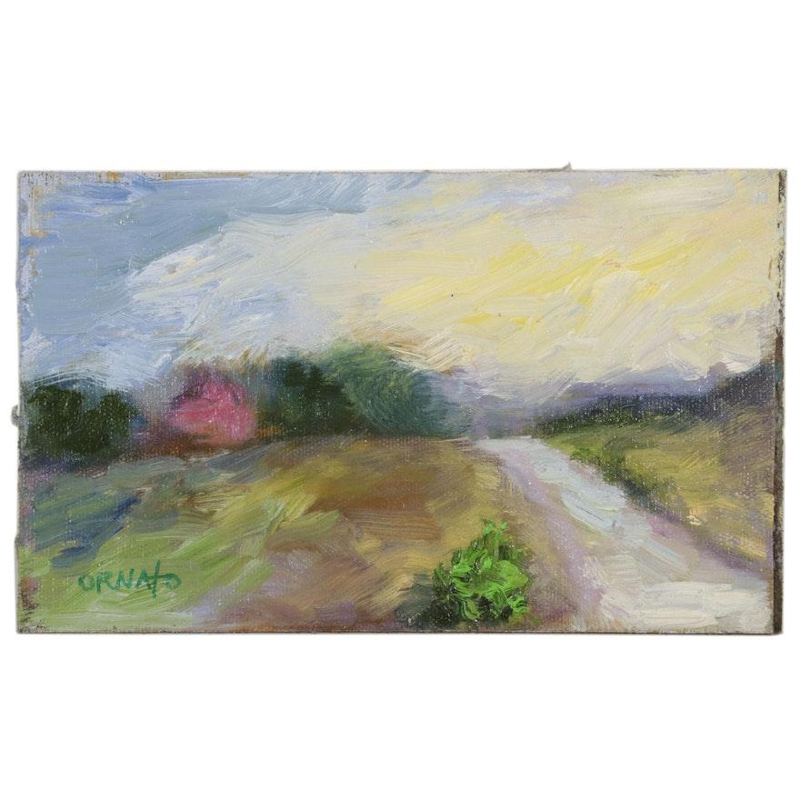 "Vince Ornato Oil Painting ""Sunset Glow,"" 21st Century"