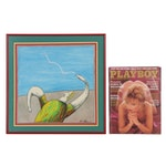 """Kevin Pope Mixed Media Drawing """"Potpourri/Flying Thing,"""" and 1984 Playboy"""
