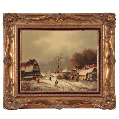 Dutch Style Oil Painting of a Village Scene, 20th Century