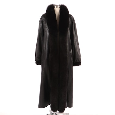 Reversible Leather Full-Length Coat with Sheared Fur and Dyed Fox Fur Trim