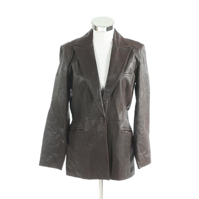 Newport News Grained Leather Single-Button Jacket