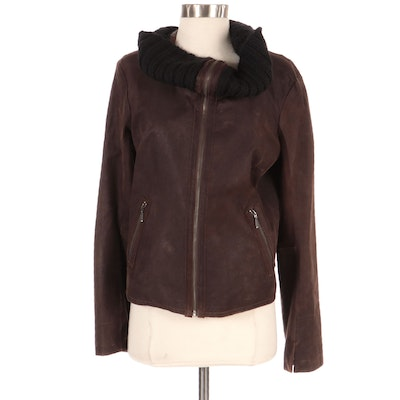 Remy Leather Jacket with Wide Knit Collar, New with Merchant Tag