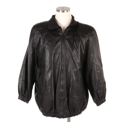 Men's Black Leather Coat with Rabbit Fur Lining from Vincents of Indiana