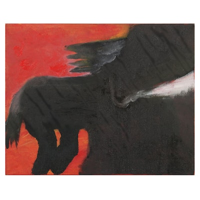 """Philip the Transplant Oil Painting """"The Black Horse,"""" 2017"""