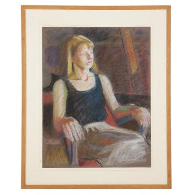 """Stephen Hankin Pastel Drawing """"Woman in a Black Tank Top,"""" 1983"""