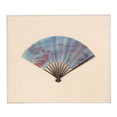 Chris Mesarch Hand-Crafted Folding Fan in Frame