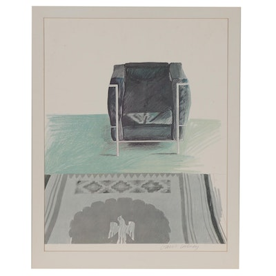 """David Hockney Offset Lithograph """"Corbusier Chair and Rug,"""" 1969"""