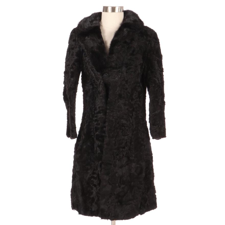 Black Persian Lamb Coat with Mink Fur Trim