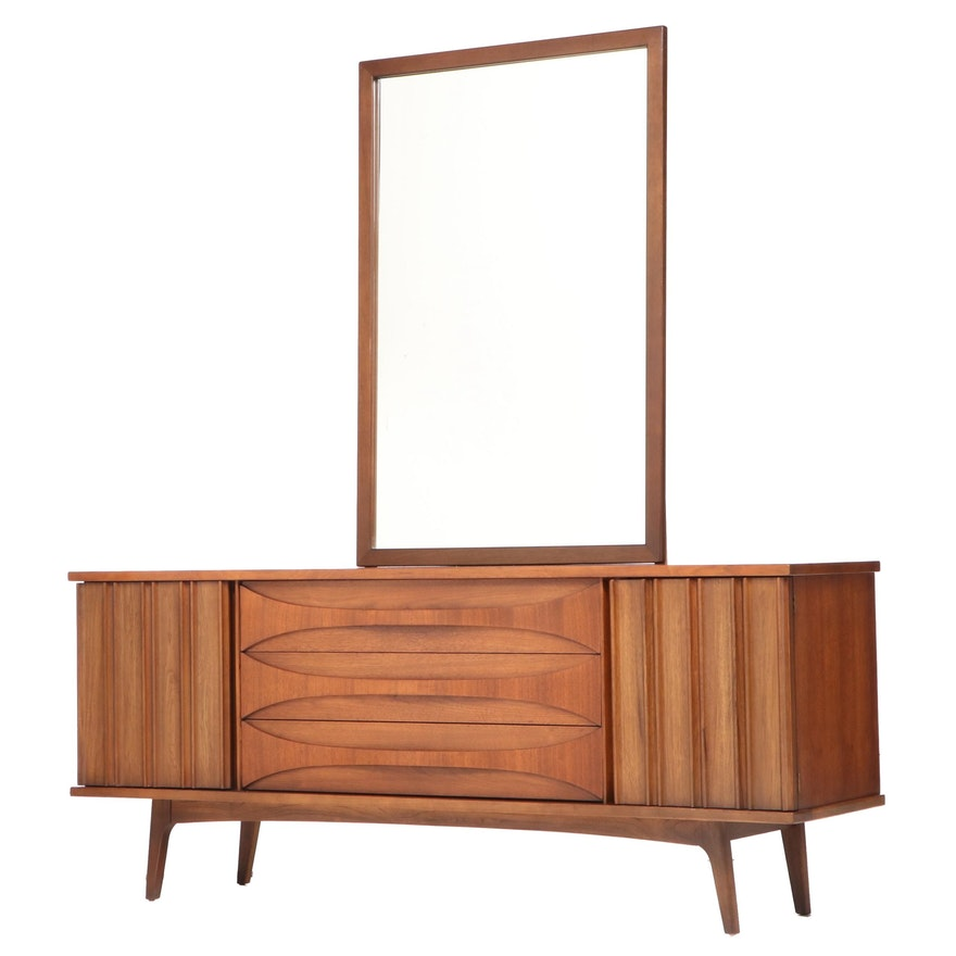 "United Furniture Co. ""Cat's Eye"" Mid Century Modern Walnut Nine-Drawer Dresser"