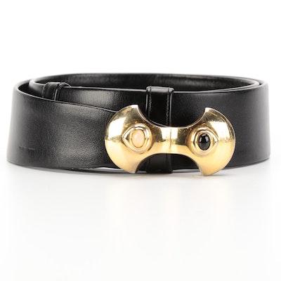 Judith Leiber Black Leather Belt with Quartz and Black Onyx Embellished Buckle