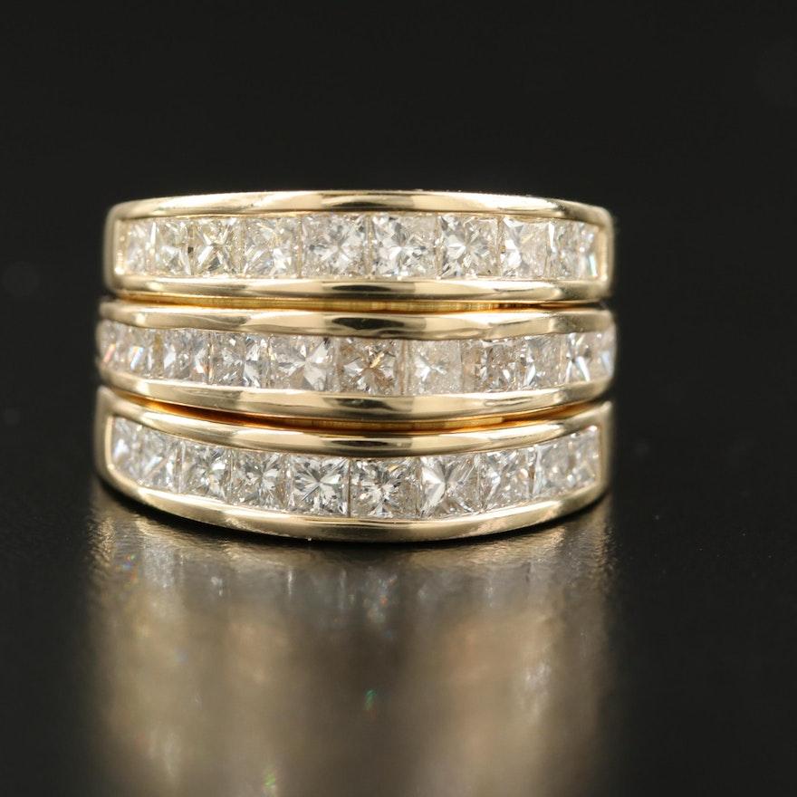 14K Triple Channel Set 3.10 CTW Diamond Ring
