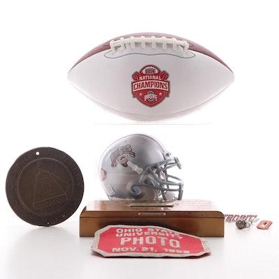 Ohio State University Football, Mini Helmet, Bronze Case, Podium Plaque and Pins