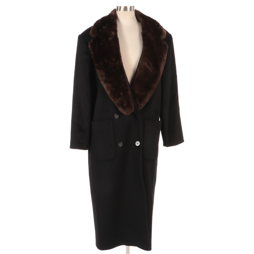 Harvé Benard by Benard Holtzman Wool Overcoat with Rabbit Fur Collar