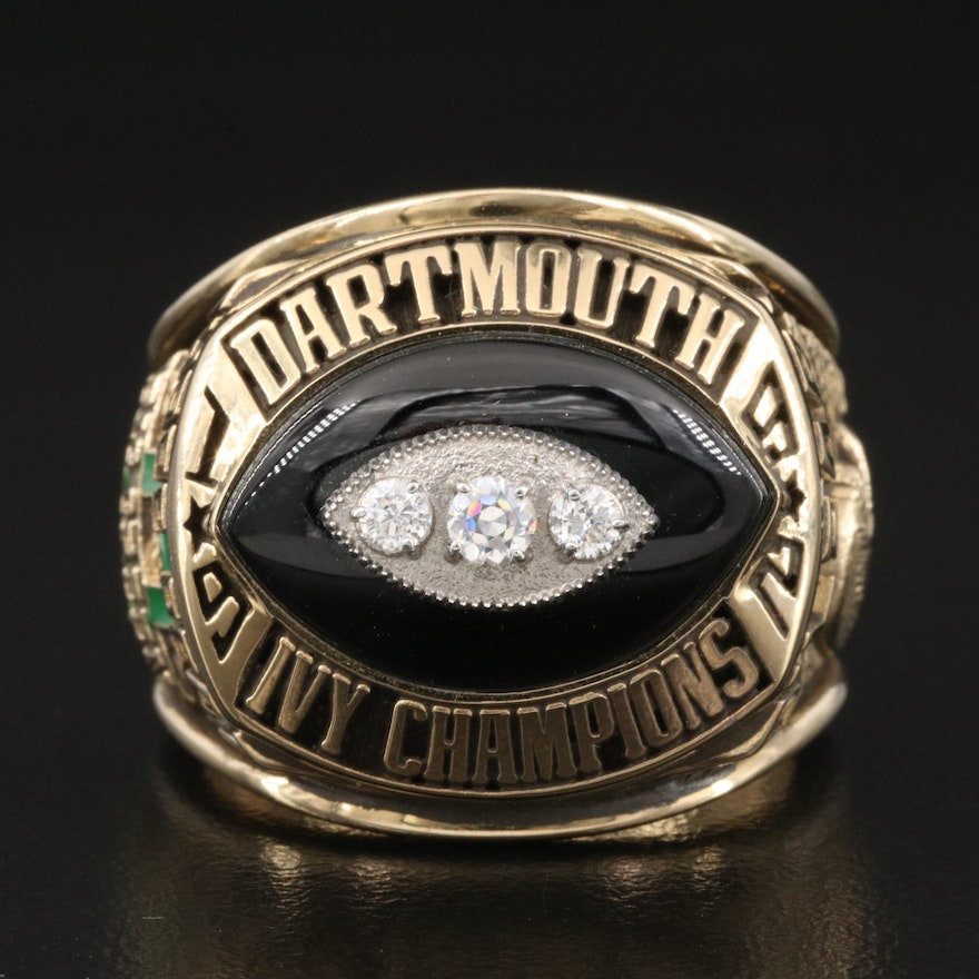 Vintage 1992 Dartmouth College Ivy League Championship Cubic Zirconia Ring