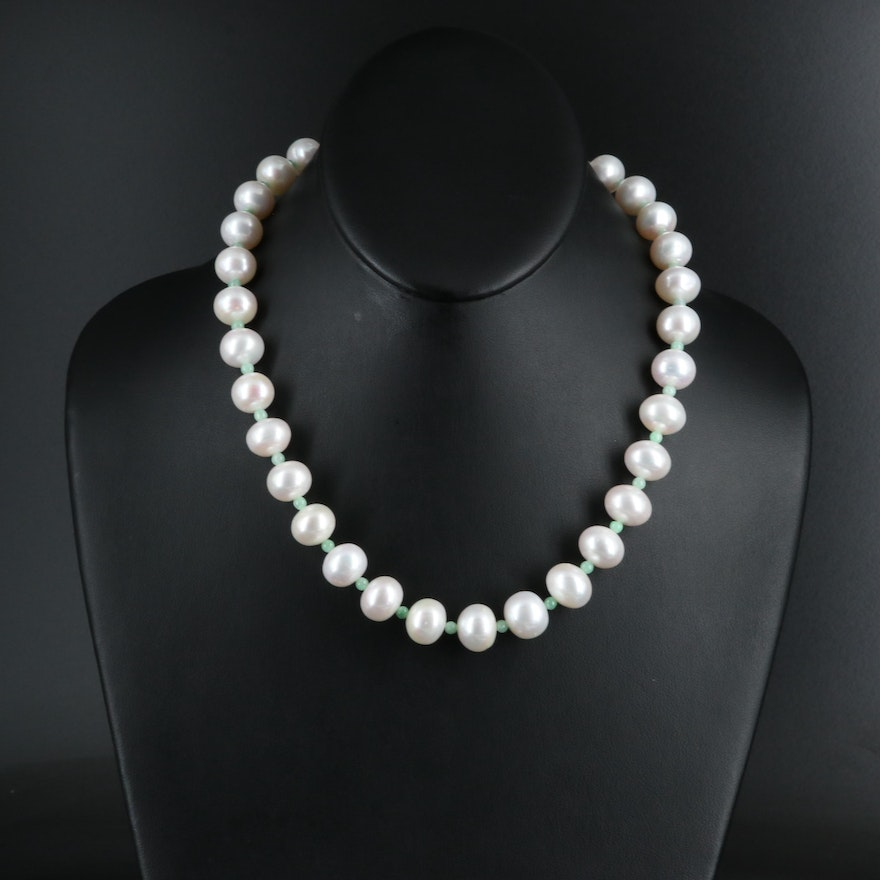 Pearl and Jadeite Necklace with 14K Clasp
