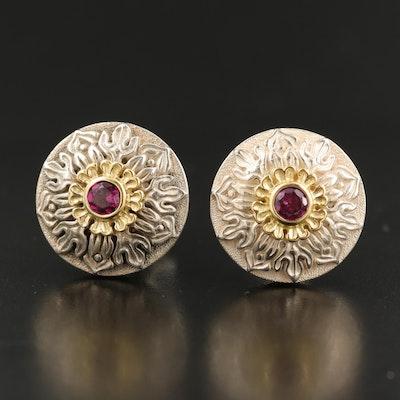 Douglas Elliott Sterling Rhodolite Garnet Floral Earrings with 14K Accents